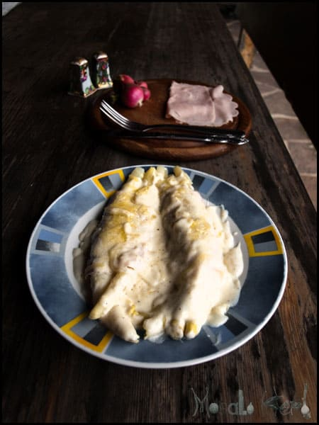 Asparagus, Ham Roll-Ups with White Bechamel Sauce #stepbystep #recipe masalaherb.com