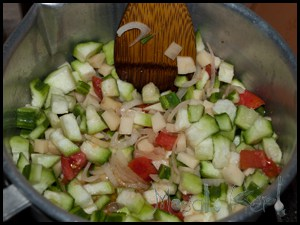Luffa ridge gourd bhaji continue to add the luffa pieces and keep on stirring while frying for 2 3 minutes forumfinder Choice Image