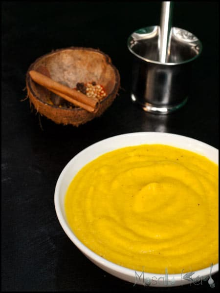 Spicy Pumpkin Soup with Chili Cream #stepbystep #recipe masalaherb.com