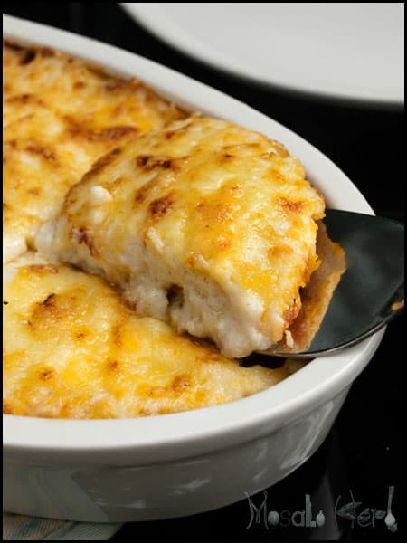 Baked Layered Polenta Casserole #stepbystep #recipe masalaherb.com
